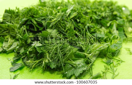 The cut fennel with parsley