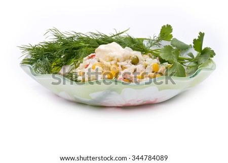 The cut ingredients of future salad and dill are isolated on a white background - stock photo