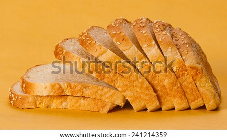 The cut loaf of bread  - stock photo