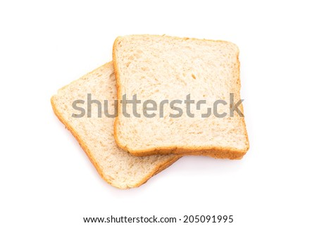 The cut loaf of bread with reflection. isolated on white background