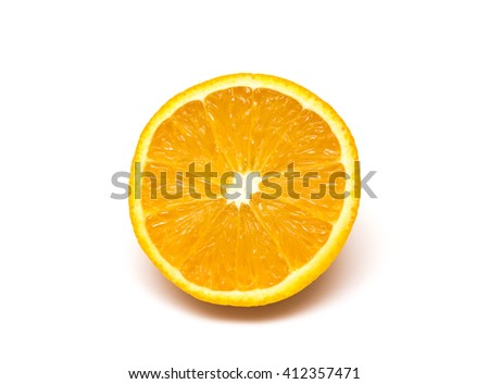 The cut orange on a white background