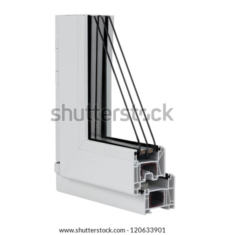 The cut plastic window profile on white background. - stock photo