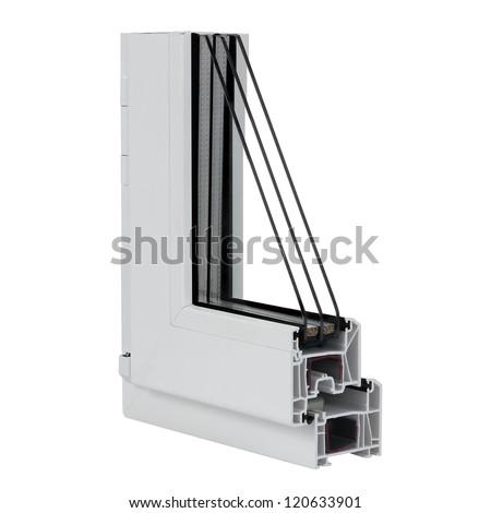 The cut plastic window profile on white background. - stock photo
