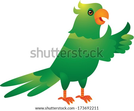 The Cute Green Parrot Cartoon Illustration - stock photo
