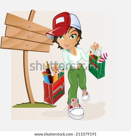 The cute schoolgirl coming from store have bag filled up with writing materials. - stock photo