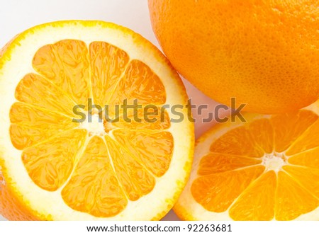 The cutting orange; neutral background