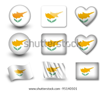 The Cypriot flag - set of icons and flags. glossy and matte on a white background. - stock photo