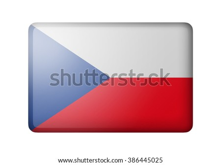The Czech flag. Rectangular matte icon. Isolated on white background. - stock photo