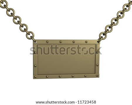 The 3d brass tablet, suspended on circuits. Objects over white - stock photo