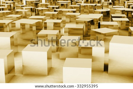 The 3d cube create by metal textures and materials - stock photo
