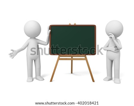 The 3D guy and a blackboard - stock photo