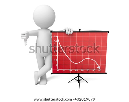 The 3D guy and a chart - stock photo