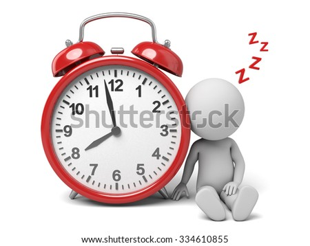 The 3D guy and a clock - stock photo