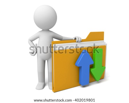 The 3D guy and a document folder - stock photo