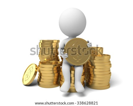The 3D guy and a lot of money - stock photo