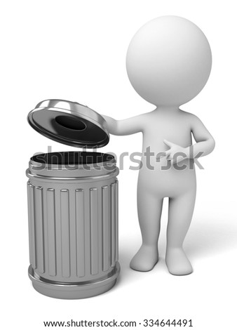 The 3d guy and a trash can - stock photo