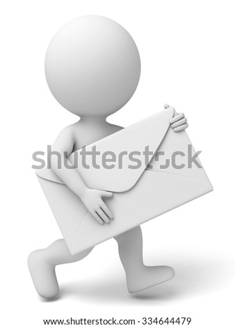 The 3d guy and a white envelope - stock photo