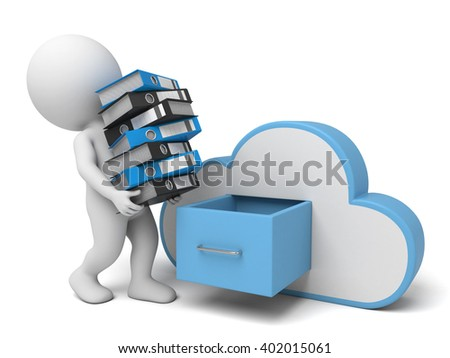 The 3d guy and computer storage data - stock photo