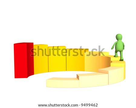 The 3d person - puppet, rising under the yellow diagram - stock photo