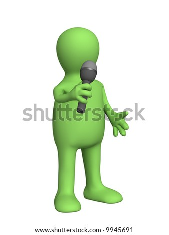 The 3d person - puppet, singing with a microphone. Objects over white