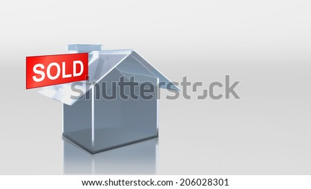 The 3D render image of investment glass house sold - stock photo