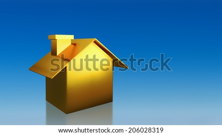 The 3D render image of investment gold house with blue sky background - stock photo