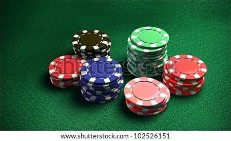 The 3d rendering of difference colored casino chips