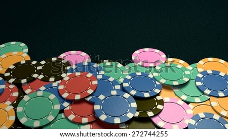 The 3d rendering of difference coloured casino chips - stock photo