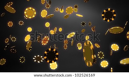 The 3d rendering of difference gold chips - stock photo