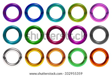 The 3d rings geometric with multiple materials - stock photo