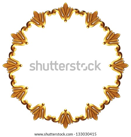 the 3d round art frame is made of gold leaves - stock photo