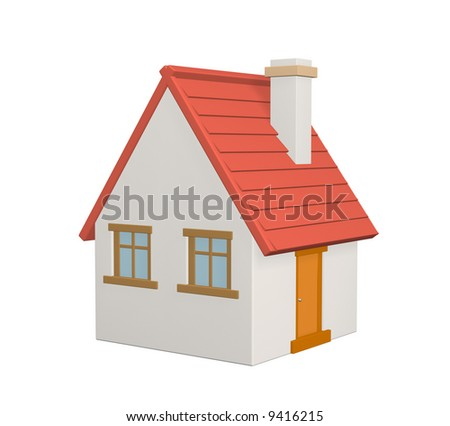 The 3d rural house with a red roof. Objects over white;