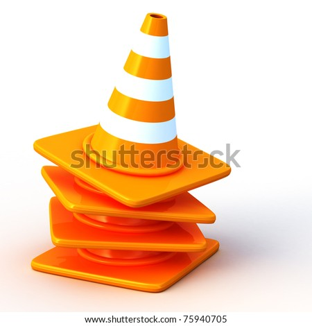 the 3d traffic cones - stock photo