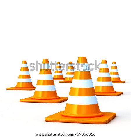 the 3d traffic cones isolated over white. This is a detailed 3D rendering (Hi-Res) - stock photo