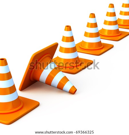 the 3d traffic cones isolated over white. This is a detailed 3D rendering (Hi-Res)