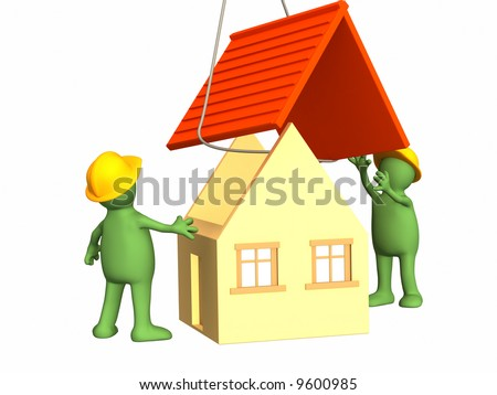 The 3d working puppets building the house. Objects over white - stock photo