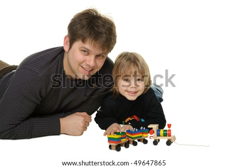 The daddy with the son. It is isolated on a white background - stock photo