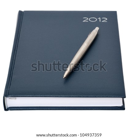 the daily log with a pen on a white background - stock photo
