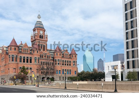 The Dallas County Courthouse, built in 1891 of red sandstone rusticated marble accents, is an historic governmental building located at Dallas, Texas. Now is Old Red Museum. - stock photo