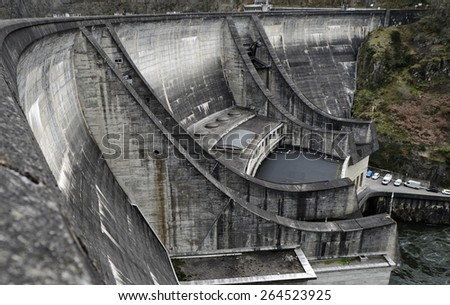 The dam Barrage du Chastang in Correze, France.  - stock photo