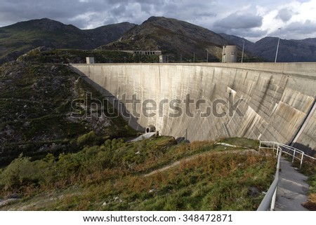 The dam wall of the hydroelectric project of Vilarinho das Furnas in Terras do Bouro, Braga, Portugal
