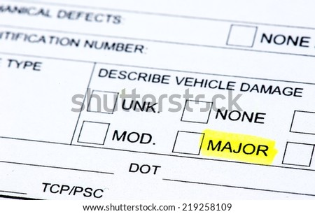 The damage section of a police report - stock photo