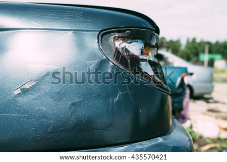 the damaged car headlight
