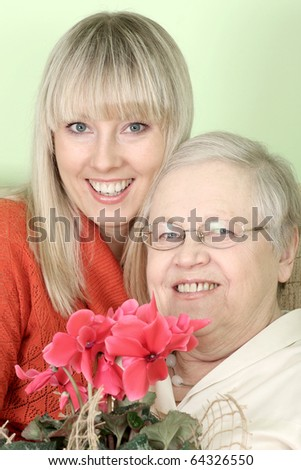 the dame with the adult daughter - stock photo