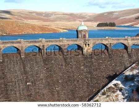 The dams at Elan Valley, Near Rhayader, Powys - stock photo
