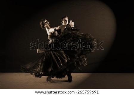 The dancers in ballroom  - stock photo