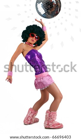The dancing girl and disco ball on white background - stock photo