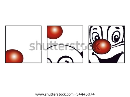 The dancing Red nose of a lucky clown - stock photo