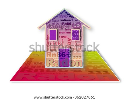 The danger of radon gas in our homes - concept illustration - stock photo