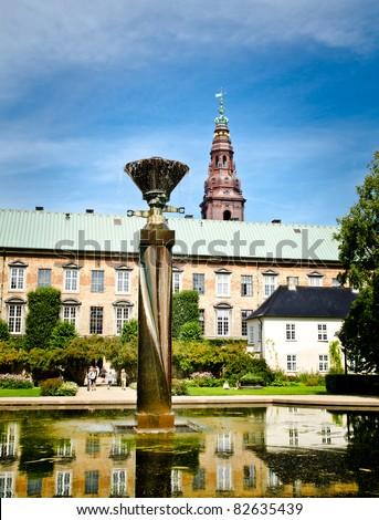 the danish castle christiansborg in the center of copenhagen - stock photo